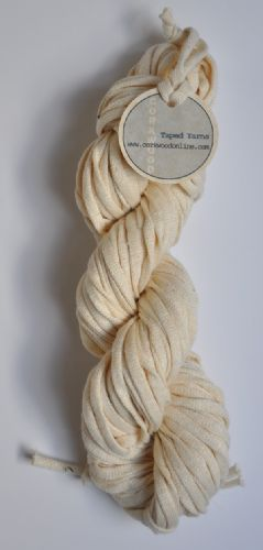 Ecru cotton tape yarn 100g skein for dyeing approx .75cm and 40m